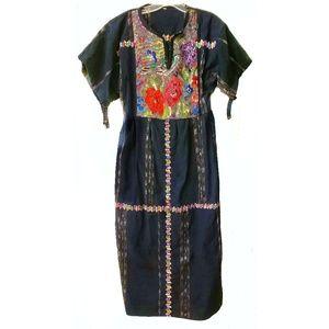 HANDMADE NEEDLEPOINT Denim Midi Maxi Dress